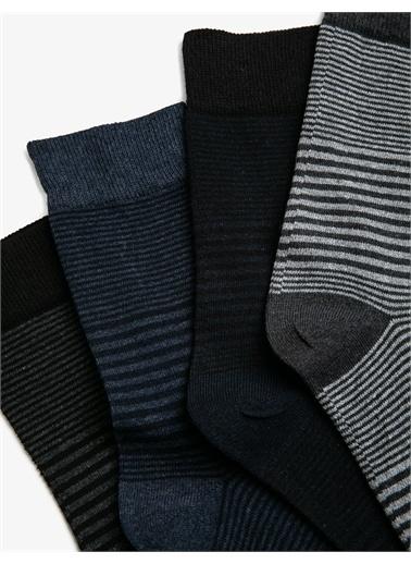 Koton Erkek 4'lü Çizgili Çorap Siyah